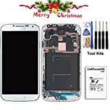 cellphoneage for Samsung Galaxy S4 SIV New LCD Screen Replacement With Frame(GSM Models - T-Mobile M919 AT&T I337)Full Set Display & Touch Screen Digitizer Assembly + Free Tool Kits (White.)