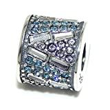 """Pro Jewelry .925 Sterling Silver """"Designer Crystal Rondelle"""" Charm Bead for Snake Chain Charm Bracelet"""