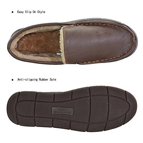 Men 39 S Pu Lined Bedroom Indoor Outdoor Slip On Moccasin Slippers Us 11 12 Brown Fba Buy