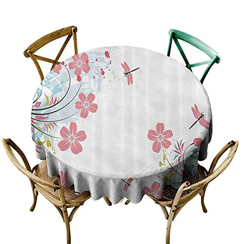 Gorgeous Dragonfly Pin - Water Resistant Table Cloth Country Decor Collection Dragonflies and Flower Field Spring Season Inspirational Natural Ecological Life Theme It's Good to be Home Gorgeous High End Quality 40 INCH Pin