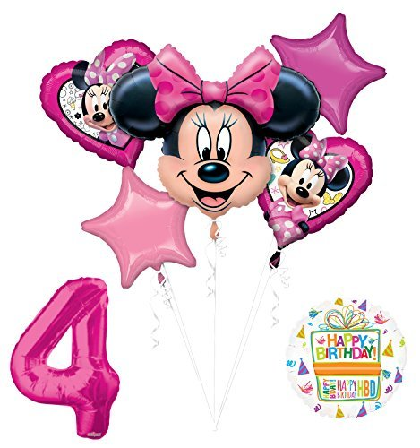 NEW Minnie Mouse 4th Birthday Party Supplies Balloon Bouquet Decorations