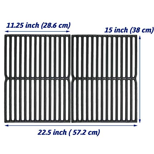 Utheer 7522 Cooking Grid Grate 15 x 11.25 Inch for Weber Spirit 200, Spirit 500, Genesis Silver A, Grill Replacement Parts for Weber 7521 7522 7523 65904 65905, Matte Cast Iron (Cooking Grate Small)