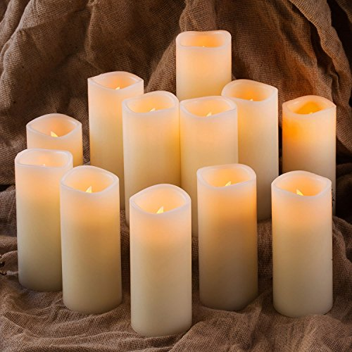 Enpornk Set of 12 Flameless Candles Battery Operated LED Pillar Real Wax Flickering Electric Unscented Candles with Remote Control Cycling 24 Hours Timer, Ivory Color by Enpornk (Image #3)