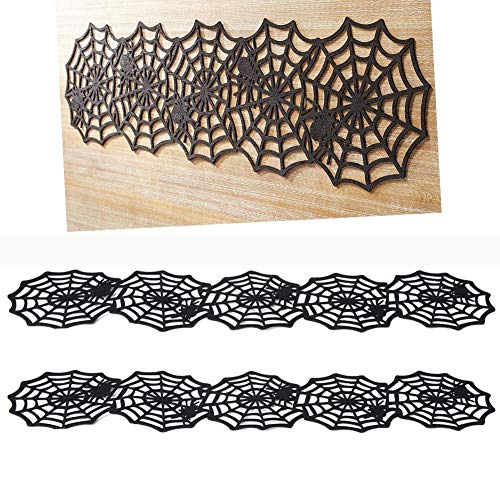 2 Pack Halloween Spider Web Table Topper,Black Spider Web Table Runner Tablecloth for Halloween Parties,Dinners Table