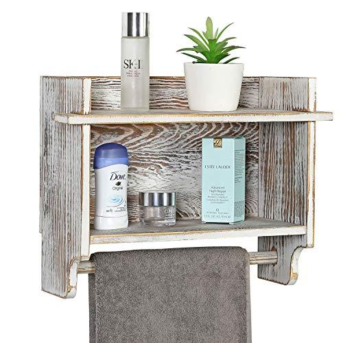MyGift Shabby Whitewashed Wood Compact Bathroom Storage Organizer Wall Mounted Rack with 2 Shelves, Hanging Towel Bar