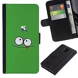 A-type (Funny Face & Fly) Colorida Impresión Funda Cuero Monedero Caja Bolsa Cubierta Caja Piel Card Slots Para Samsung Galaxy Note 4 IV