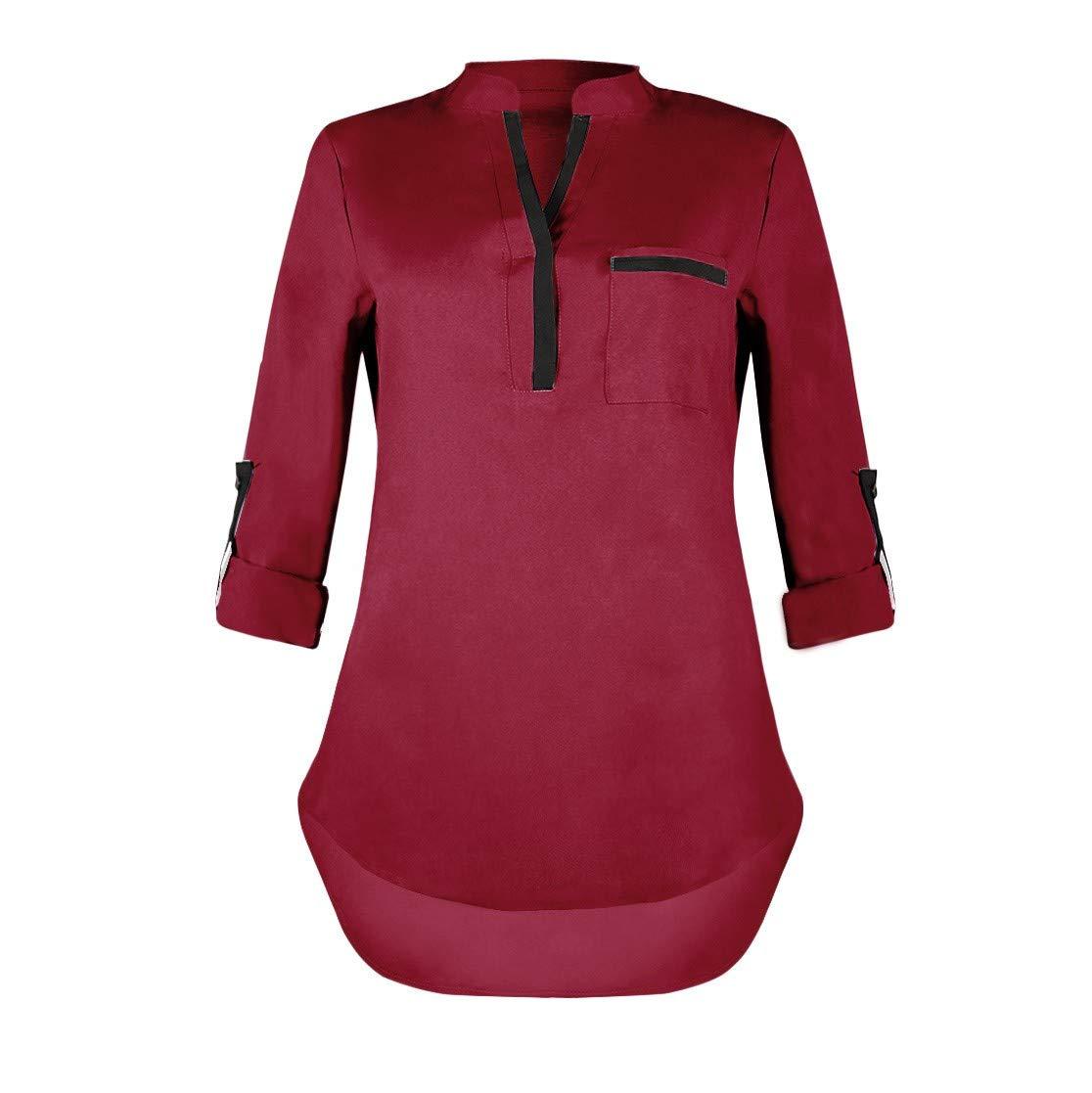 ZIYOU Elegant V-Ausschnitt Blusen Damen, Herbst Langarm Tuniken Oberteile Tops mit Tasche Frauen Freizeit Locker Shirt Bluse