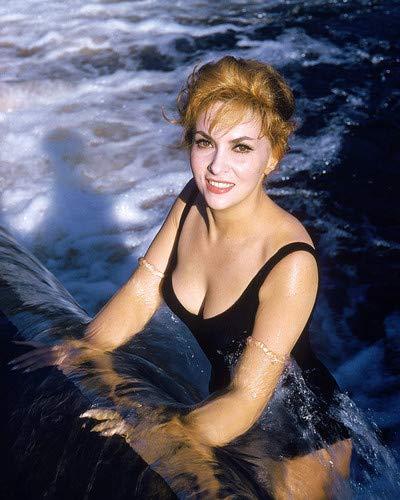 Gina Lollobrigida Sexy Busty in Waterfall black swimsuit Vintage portrait 8x10 Aluminum Wall Art