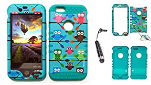 Cell-Attire Shockproof Hybrid Case For Apple iPhone 6 and Stylus Pen, Teal Soft Rubber Skin with Hard Cover (Owls, Tree Branch, Blue) AT&T, T-Mobile, Sprint, Verizon, Boost Mobile, U.S Cellular, Cricket by Maris's Diary
