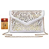 ZLM BAG US Women Hollow Out Floral Pattern Envelope Handbag Fashion PU Tote Evening Clutch Chain Crossbody Shoulder Bag White