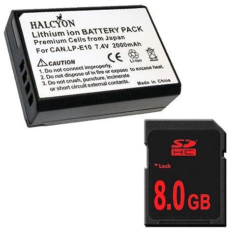 LP-E10 Batería de repuesto de iones de litio + 8 GB SDHC tarjeta ...