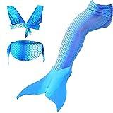 sophiashopping Girl's 3pcs Mermaid Tail Swimsuit Princess Bikini Set