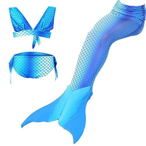sophiashopping Girl's 3pcs Mermaid Tail Swimsuit Princess Bikini Set by sophiashopping