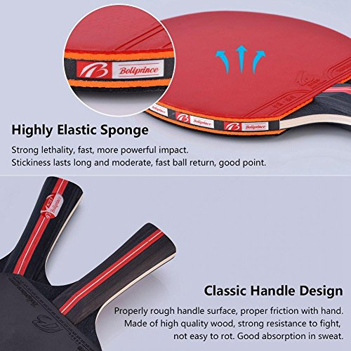 Dioche Boliprince Ping Pong Paddles, 2-Player Table Tennis Racket Set with Carrying Bag and 3 Balls for Shake-Hand Grip Players by Dioche (Image #2)
