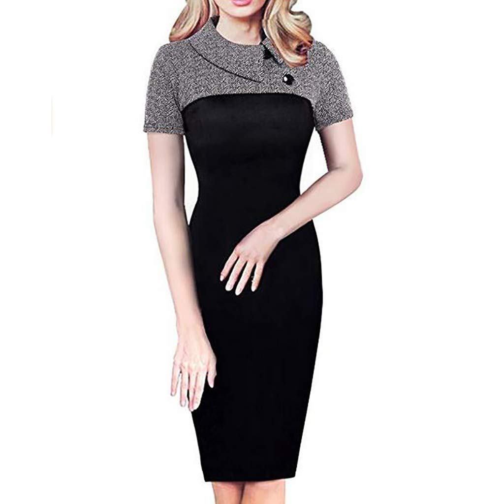 PASATO S-2XL Women's Short Sleeved Retro Chic Colorblock Lapel Career Tunic Pencil Dress