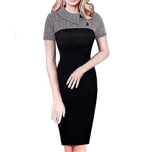 522182d8 Women Work Dresses, Summer Casual Solid Short Sleeve Slim Pencil Mini Dress  at Amazon Women's Clothing store: