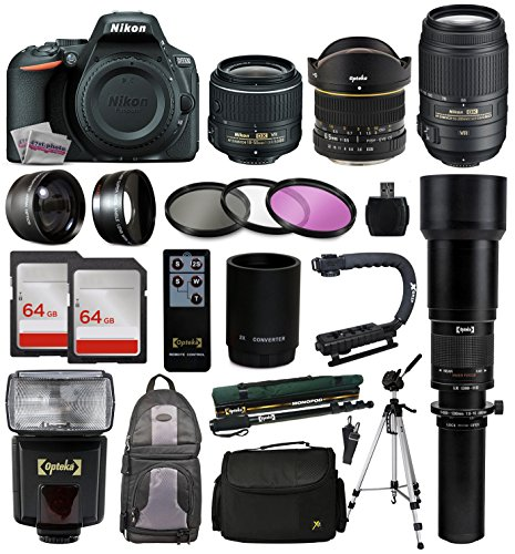 Nikon D5500 DSLR Digital Camera 18-55mm Lens  6.5mm f3.5 Fisheye Lens  55-300mm VR Lens  Super 650-1300 HD Telephoto Lens  128GB Memory  Filters  Flash  Backpack  Case  Tripod  Monopod