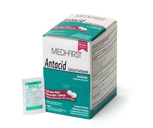 Medi-First 80248 Tabletas antiácidas de menta masticable, 125 paquetes de 2