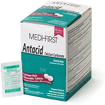 Medi-First 80248 Chewable Mint Antacid Tablets, 125-Packets of 2