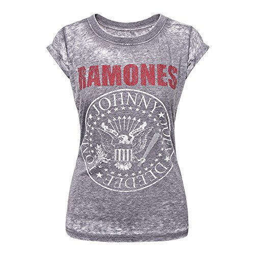 Ramones Ladies Tee - Ramones 'Red Logo Seal' Womens Burnout T-Shirt (small)