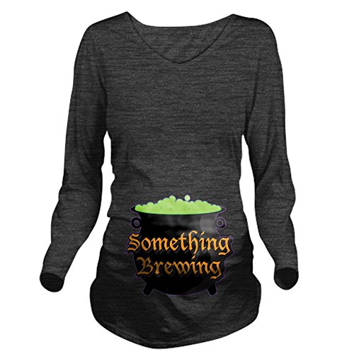 CafePress Halloween Something Long Sleeve Maternity T-Shirt, Cute and Funny Pregnancy Tee Charcoal -