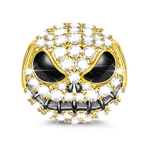 - GNOCE Little Monster Black Plated 925 Sterling Silver Beads Charms with Cubic Zirconia for Halloween - Gold