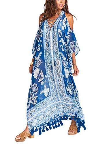 Chiffon Maxi Bikini Sexy Cover Ups Swimsuit Off Shoulder Floral Print Kaftan Beach Dress with Tassels Robe Blue (225)