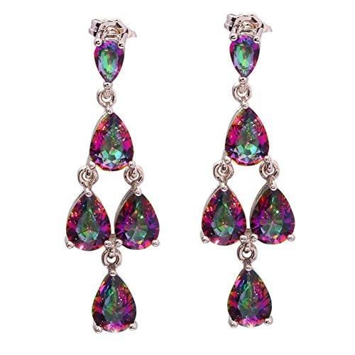 CiNily Rhodium Plated Mystic Topaz Women Jewelry Gemstone Drop Earrings 1 (Mystic Topaz Drop)