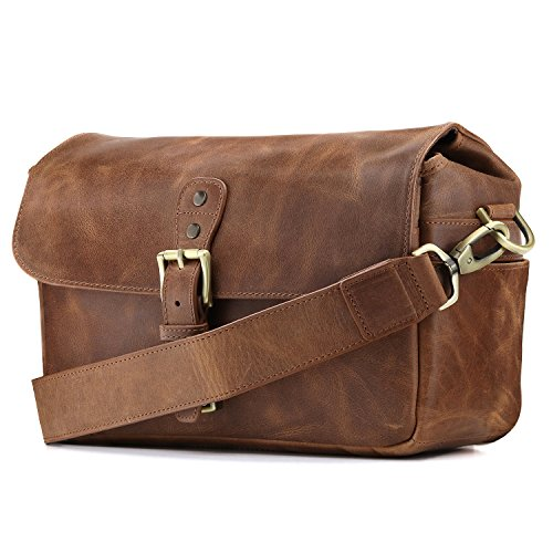 MegaGear Genuine Leather Camera Messenger Bag for Mirrorless, Instant and DSLR, Brown - Leather Bag Apart