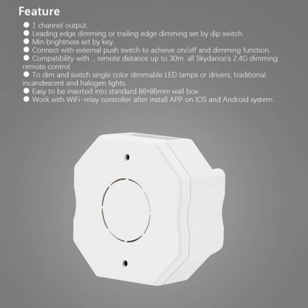 PENG AC RF Triac Dimmer L/ámpara LED inal/ámbrica Interruptor pulsador Regulable para Bombilla de un Solo Color