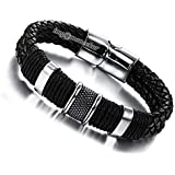 Moneekar Jewels Men's Genuine Leather Bracelet Stainless Steel Magnetic Buckle Multi-Layer Braided Wrist Cuff Fashion Bracelet for Mens Boys with Free Jewellery Bracelet Box