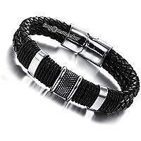 Moneekar Jewels Men's Genuine Leather Bracelet Stainless Steel Magnetic Buckle Multi-Layer Braided Wrist Cuff Fashion Bracelet for Mens Boys with Free Jewellery Bracelet Box