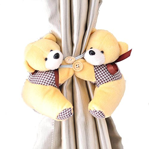 0343d4d4267 Buy Futaba Pair of Lovely Cartoon Bear Design Curtain Buckles Tiebacks  Binds - Yellow Online at Low Prices in India - Amazon.in