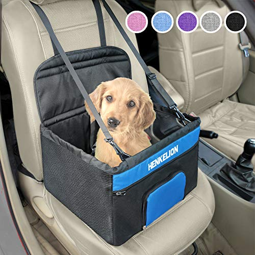 Henkelion Pet Booster Seat,Deluxe Pet Dog Booster Car Seat for Small Dogs/Medium Dogs, Reinforce Metal Frame Construction | Portable Waterproof Collapsible Dog Car Carrier with Seat Belt - Black Blue