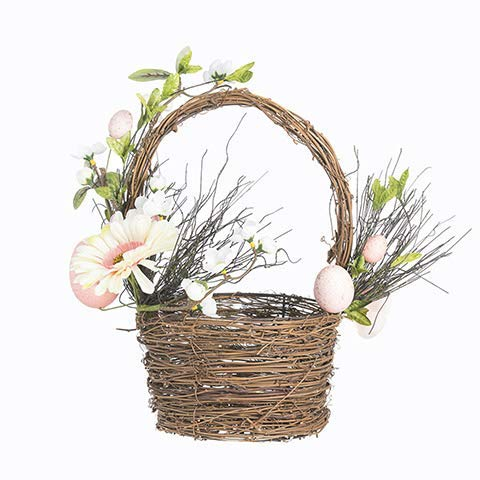 Darice Basket with Eggs and Flowers: 6 x 14 inches