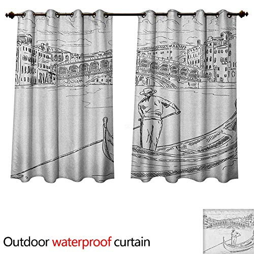 Anshesix Venice Home Patio Outdoor Curtain Rialto Bridge with Gondola Romantic Italian Landmark Inspired Sketchy Cityscape W72 x L63(183cm x 160cm)