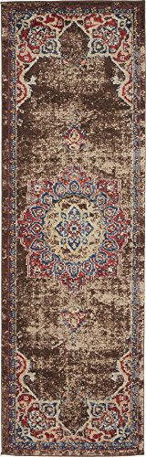 - Traditional Persian Rugs Vintage Design Inspired Overdyed Fancy Chocolate Brown 2' x 6' FT (61cm x 185cm) Runner St. James Area Rug