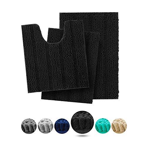 Hakuna Extra Soft Black Bathroom Rugs and Mats Set 3 Pieces Bathroom Rug Set, Thick Chenille Bath Rugs Non Slip…
