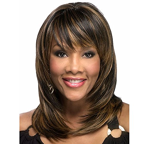 LEJIMEI Wigs Brown Medium Length Wigs with Bangs Afro Wig Long Straight Layered Synthetic Hair Wigs for Black Womem Natural Fashion Full Wig + Wig Cap