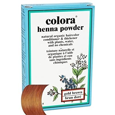 (VALUE PACK OF 3) COLORA HENNA POWDER Natural Organic Hair Color 2oz #GOLD BROWN