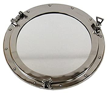 Firefly Home Collection Aluminium Porthole Wall Decor with Mirror, 20 , Chrome