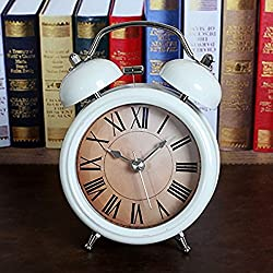 White 5'' Alarm Clocks Desktop Clock Two Bells Roman Numerals 3D Table Clocks Retro Vintage Home Decoration Desk Clock Silent Quartz Analog Alarm Clock with Nightlight and Loud Alarm