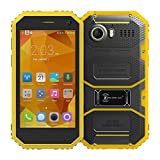AMA(TM) 4.5inch Kenxinda Proofings W6 4G Waterproof Smartphone - Unlocked Android 5.1 Quad Core 1.3GHz Dual SIM Dual Standby 1GB RAM 8GB ROM IP68 GPS WIFI Touchscreen Bluetooth Android Phone (Yellow)