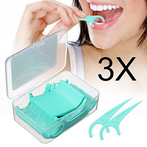Dental Floss - LuckyFine 180 Pieces, Interdental Brush, Dental Floss, Teeth Stick, Tooth Picks, Flat Dental Floss Toothpick, Teeth Cleaning 60 Pieces/Boxes