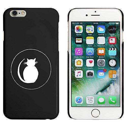 Schwarz 'Katze Silhouette im Kreis' Hülle für iPhone 6 u. 6s (MC00030465)