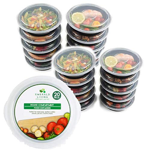 Round Lunch Box - [20 pack] Round BPA Free Meal Prep Containers. Reusable Plastic Food Containers with Lids. Stackable, Microwavable, Freezer & Dishwasher Safe Bento Lunch Box Set + EBook [24oz] (20, Round)