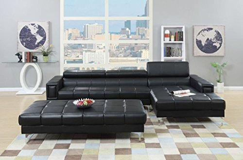 3Pcs Modern Contemporary Bonded Leather Sectional Sofa with Oversize Ottoman - Sectional Leather Style
