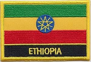 Bandera de Etiopía bordar insignia Rectangular/hidromorfona o hierro EN - Diseño exclusivo de 1000 autodhesivos