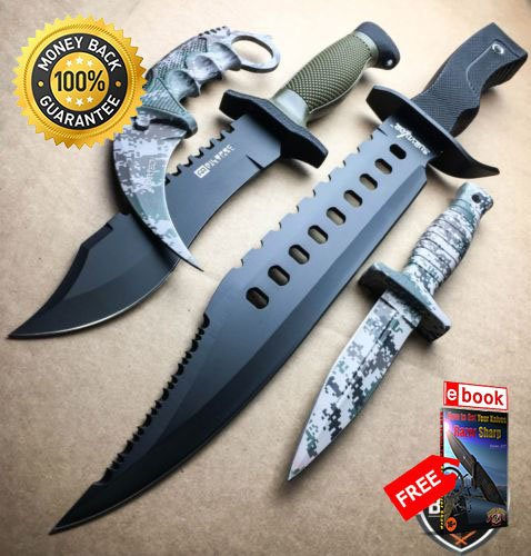 4PC Military Tactical Hunting Rambo Fixed Blade Knife