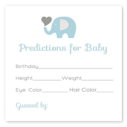Blue Elephant Baby Shower Predictions Game Card Set of 15